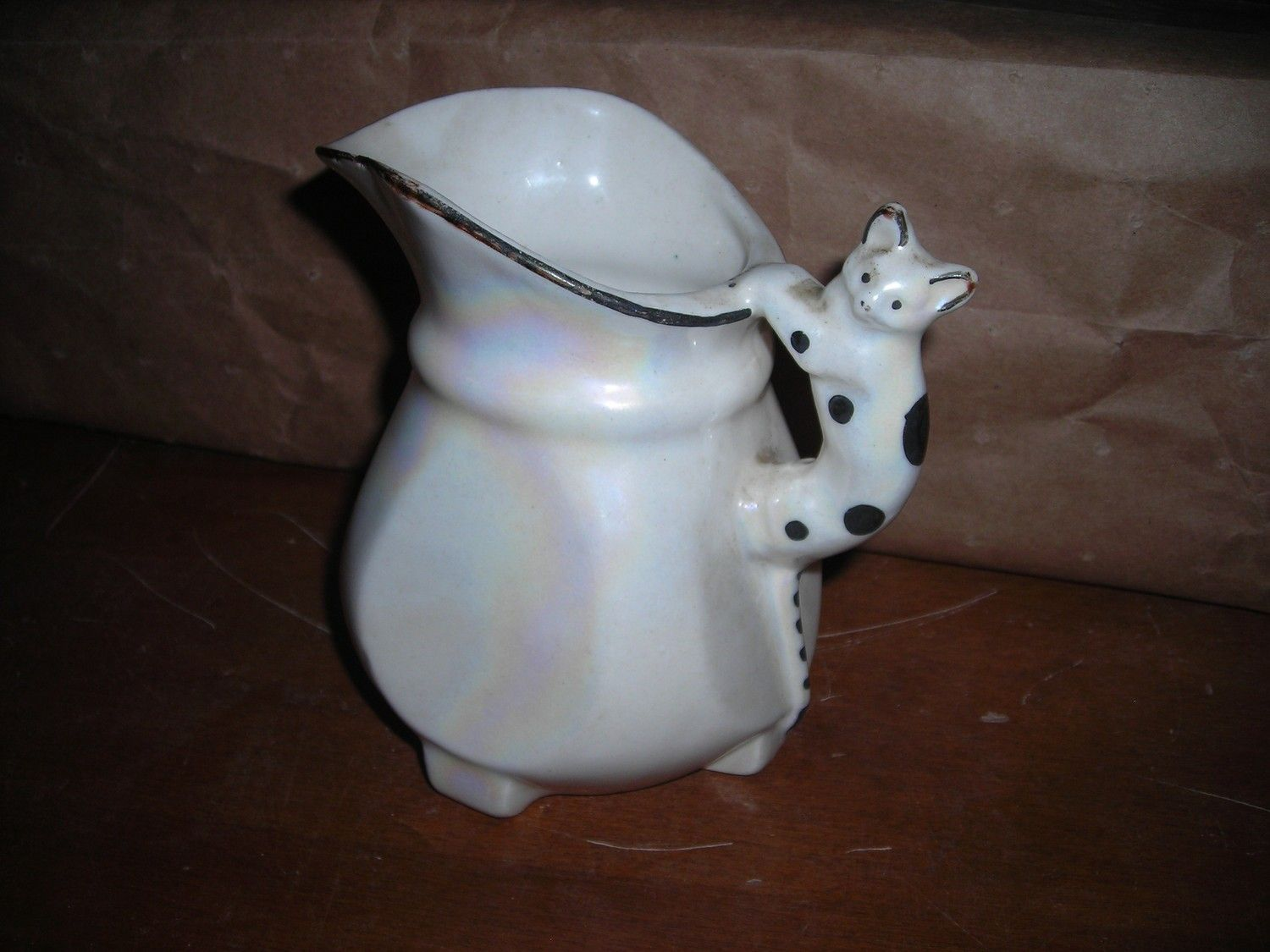vintage iridescent mother of pearl finish pitcher with cat handle