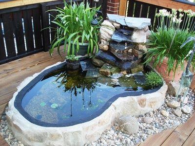 Miniteich mit Wasserfall  BalkonienGarten  Teich Garten und Wasserfall garten