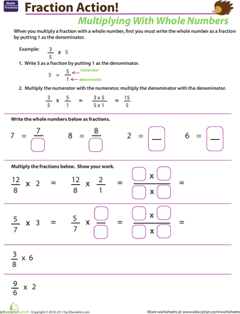 Multiplying Fractions With Whole Numbers  Worksheets Number And Math