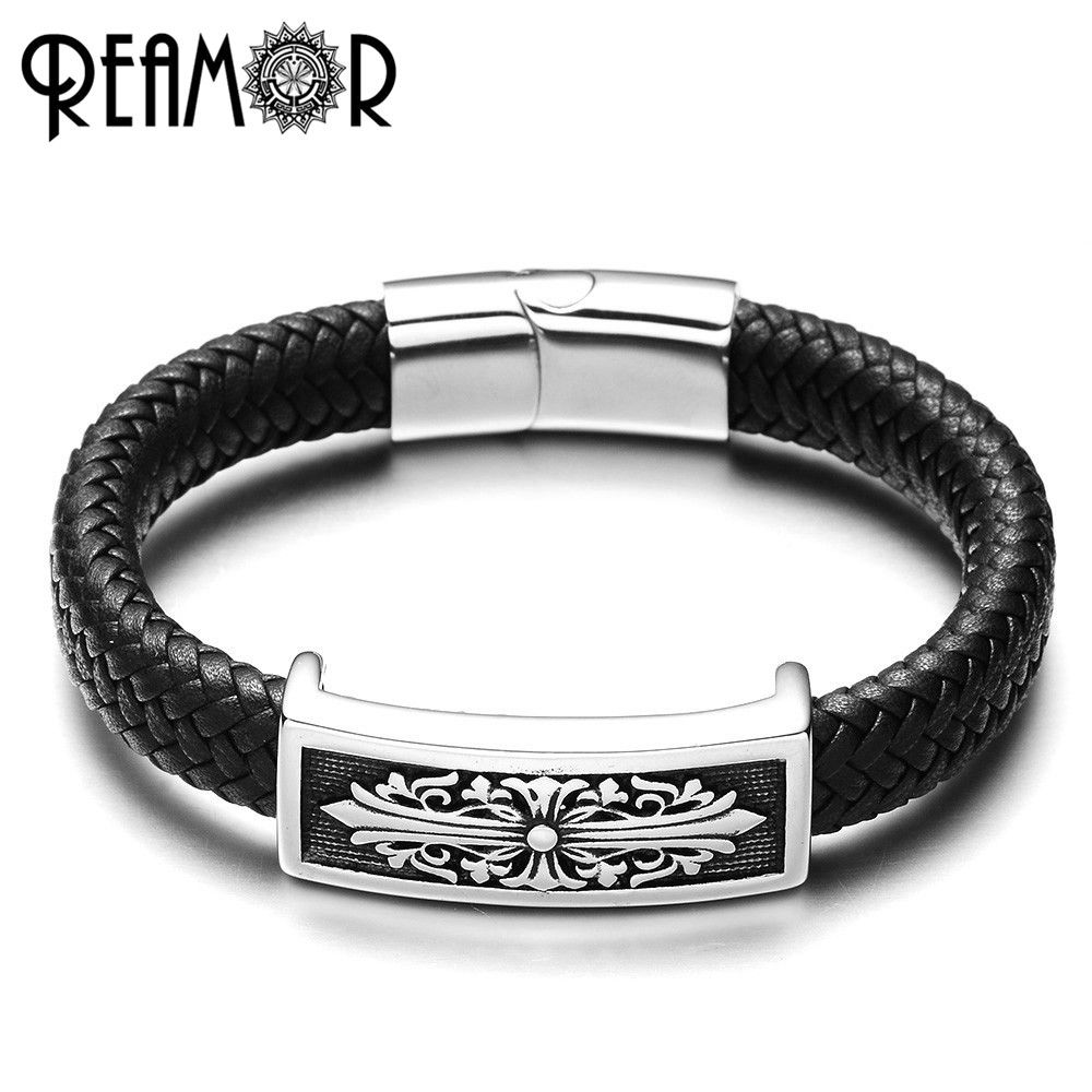 Reamor l stainless steel charms male cuff bracelets punk style