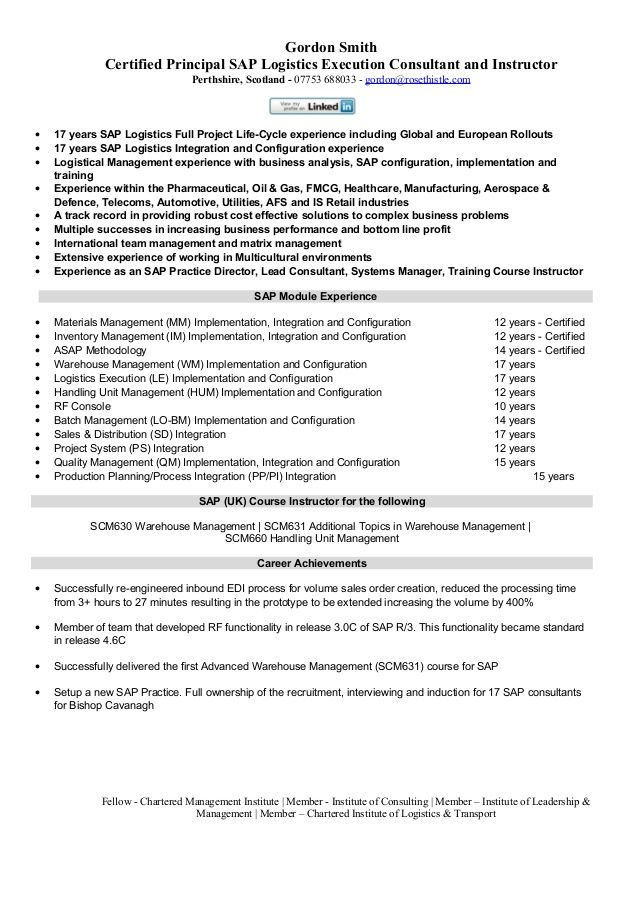 gordon smith certified principal sap logistics execution - human resource resume example