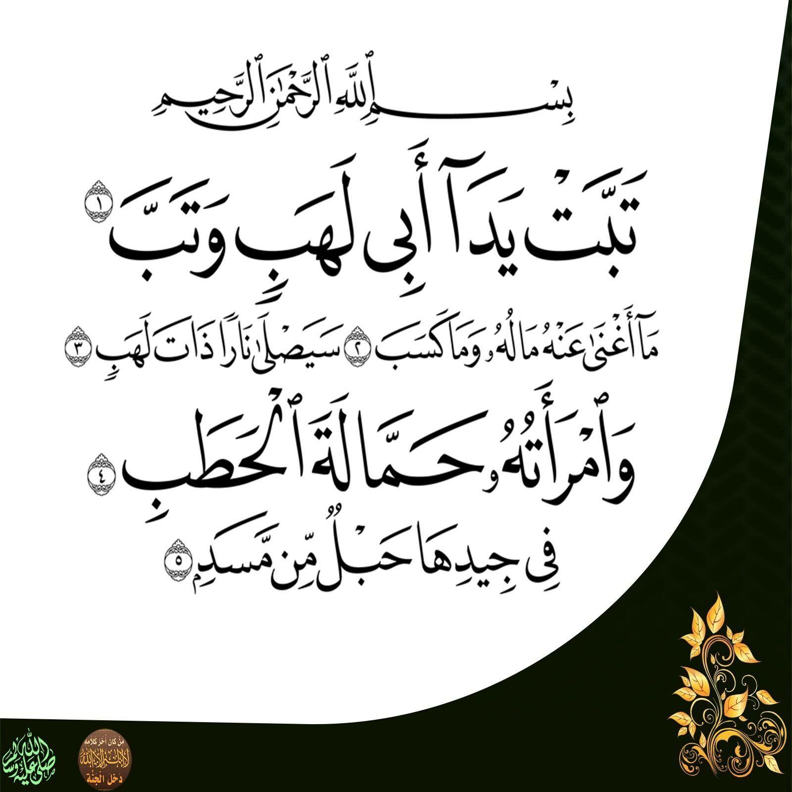 Pin By كتابا متشابها On ١١١ سورة المسد Quran Koran Quran In English