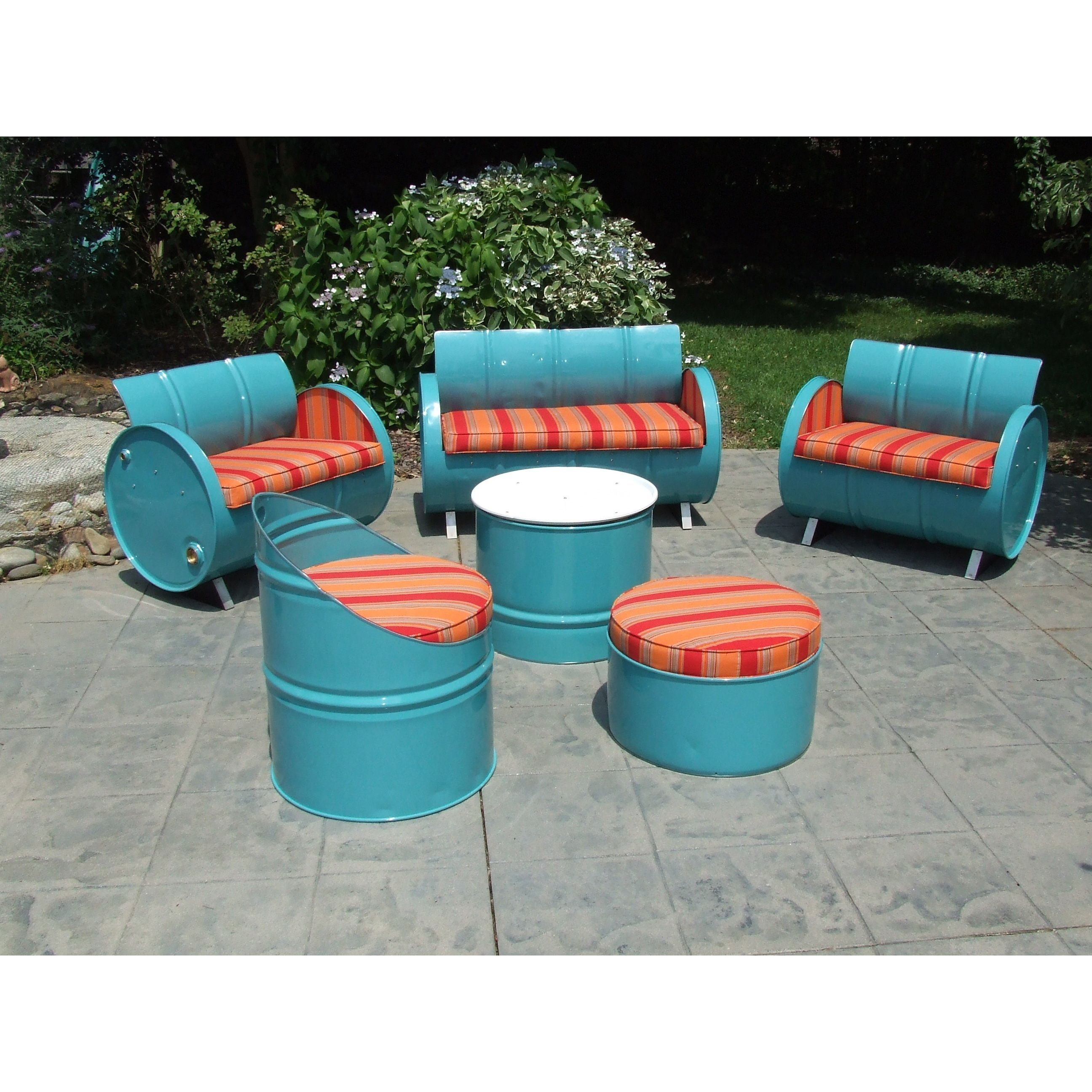 Santa Fe Blue Steel Drums and Sunbrella 6-piece Indoor/Outdoor Patio ...