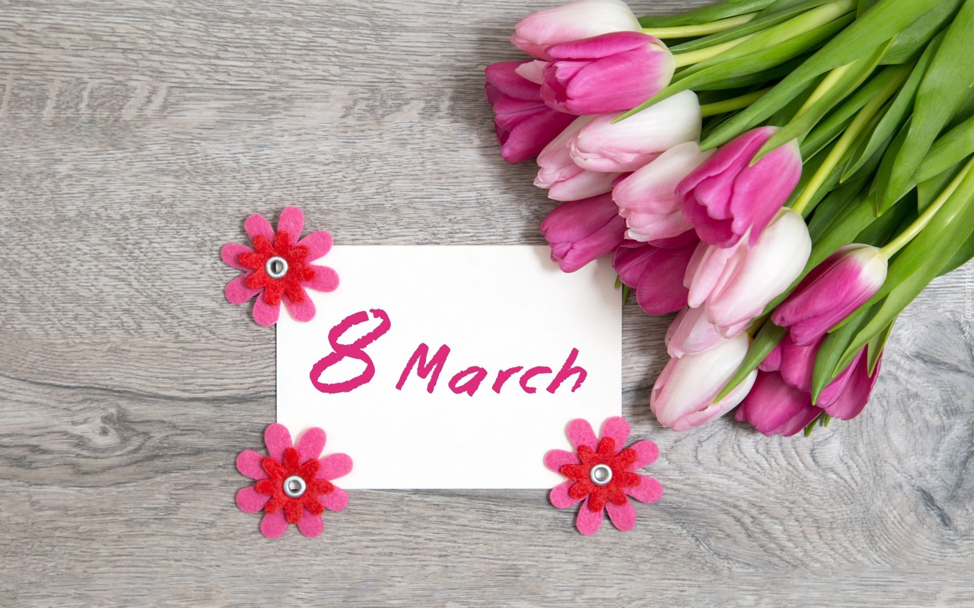 Tulipany Kartka Napis 8 March Deski Dzien Kobiet 8th Of March Holiday Wallpaper Women S Day 8 March