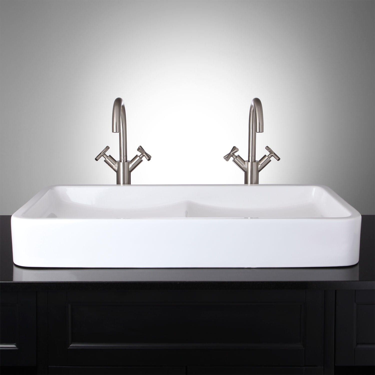 i love the double sink for a small master bath idea hamal rectangular doublebowl vessel sink how genious