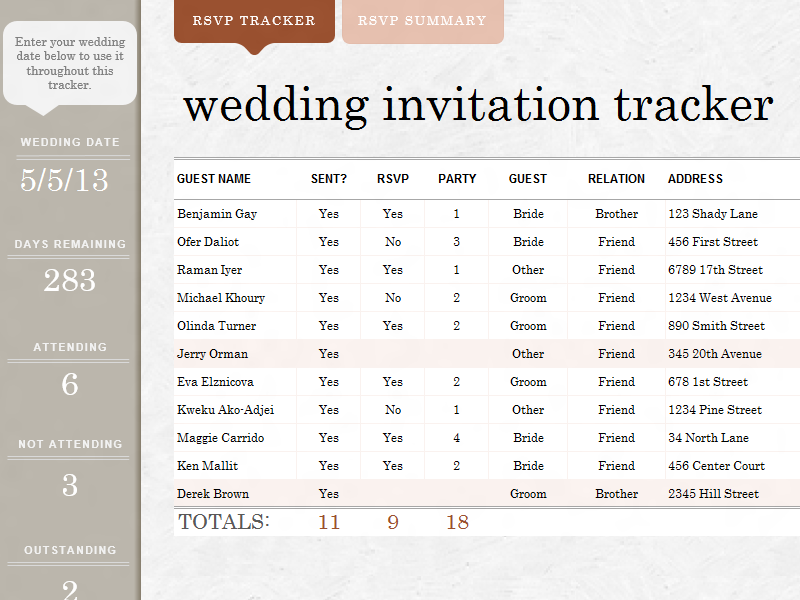 Wedding Invite Tracker Templates Awesome Works Great