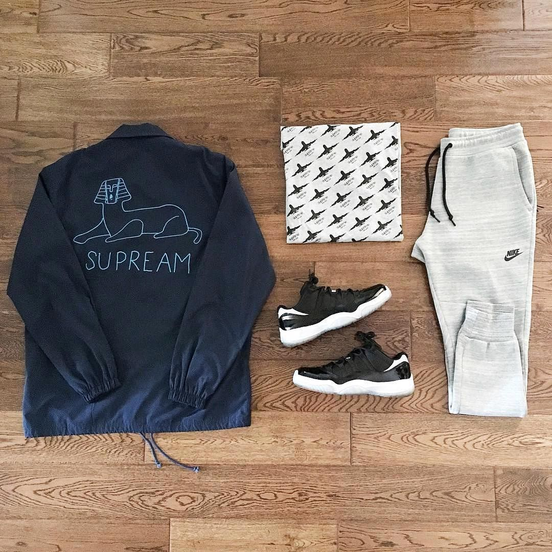 """or: #WDYWTgrid by @heyitzalex #mensfashion #outfit #ootd : #Supreme : #Nike : #AirJordan 11 Low 'Infrared'  #WDYWT for on-feet photos #WDYWTgrid for…"""