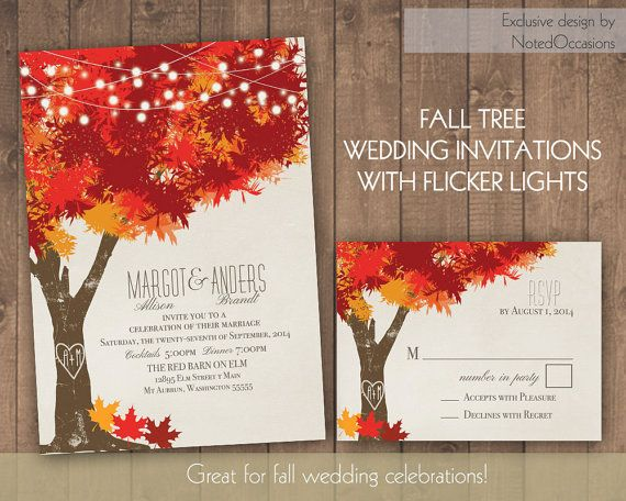 Fall Wedding Invitations Autumn Oak Tree By Notedoccasions 48 00
