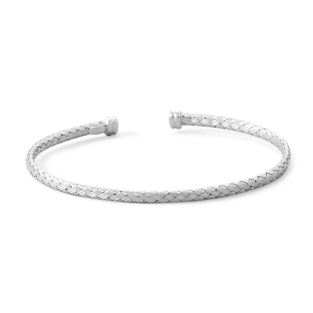 Rhodium Plated Thin Woven Cuff Bracelet