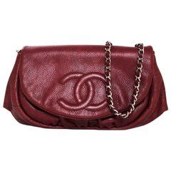 63b8a1a81ba9 Chanel Burgundy Caviar Leather CC Half Moon WOC Wallet on a Chain Crossbody  Bag