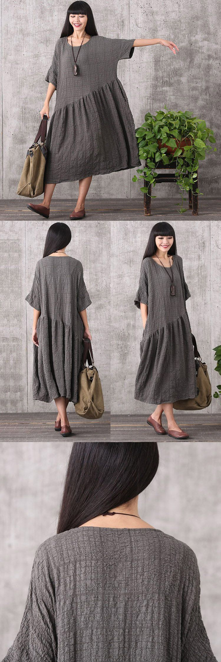 Women retro style loose pullover polyester&viscose dress