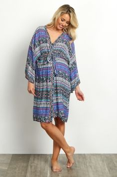 Multi-Color Mixed Paisley Delivery/Nursing Maternity Robe