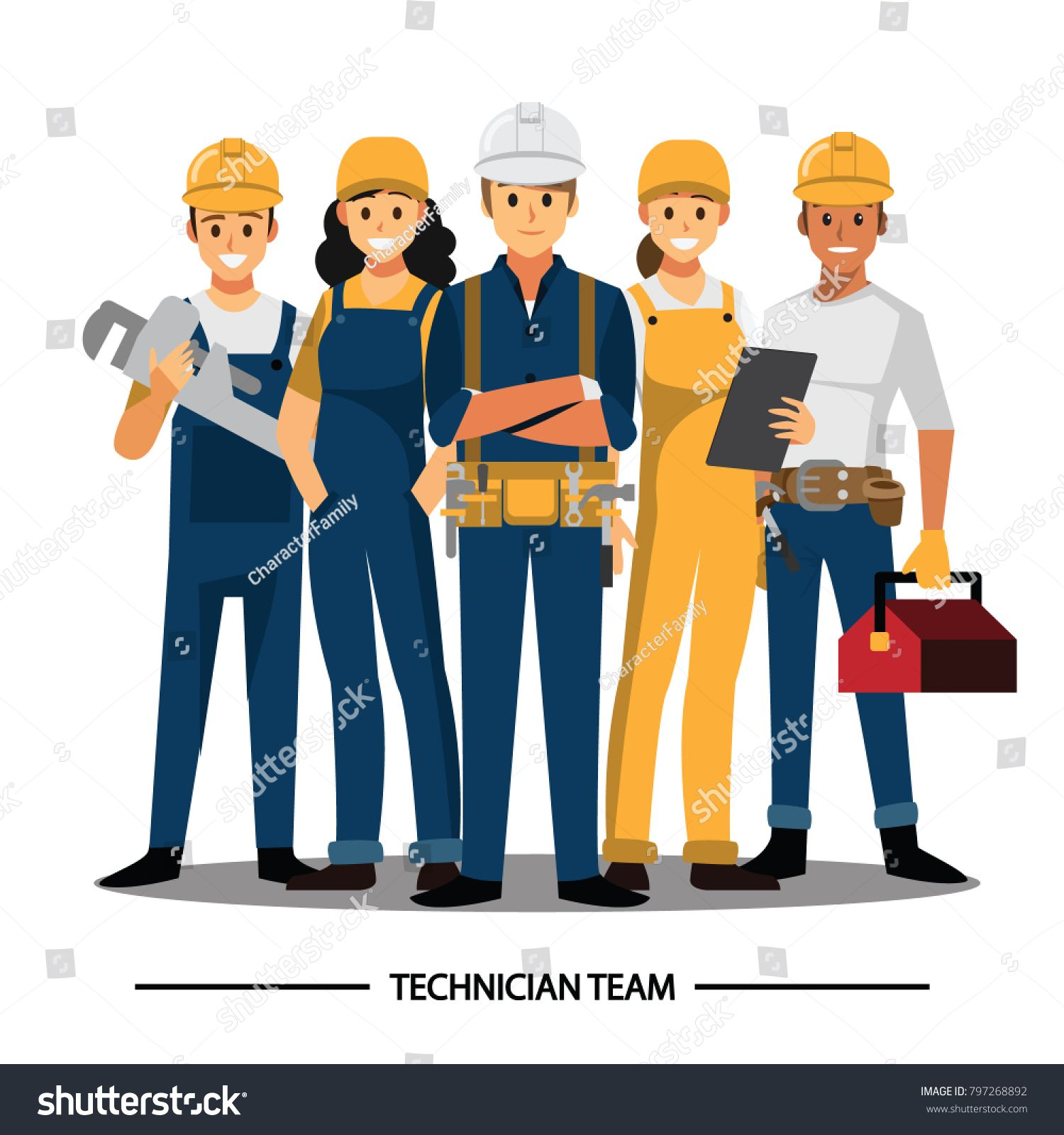 Technician And Builders And Engineers And Mechanics And Construction Worker People Teamwork Ve Engineer Cartoon Construction Worker Character Design Animation