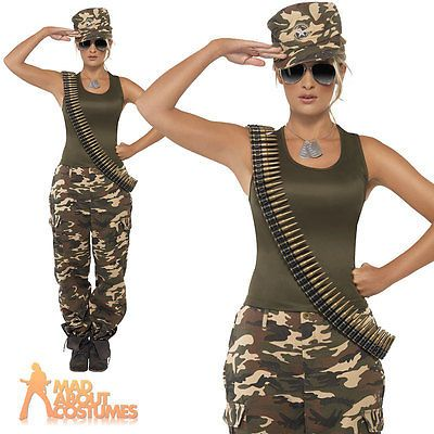 army girl costume khaki camo soldier uniform fancy dress outfit womens 4 18 - Halloween Army Costume