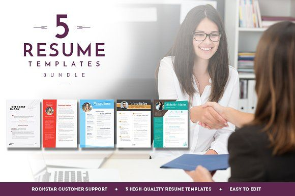 5 Resume Templates Bundle 4 by Resume Templates on @creativemarket