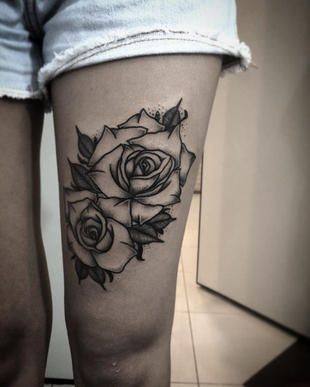 8015ee92c Black Rose Tattoo | Don't think I'd have the guts for the thigh. But the  pelvis to the back, with a vine to cover my old one...#BlackAndWhite