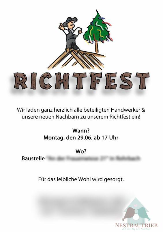 Gut gemocht Pin von Miriam Weins auf Richtfest   Richtfest, Einladung PU83
