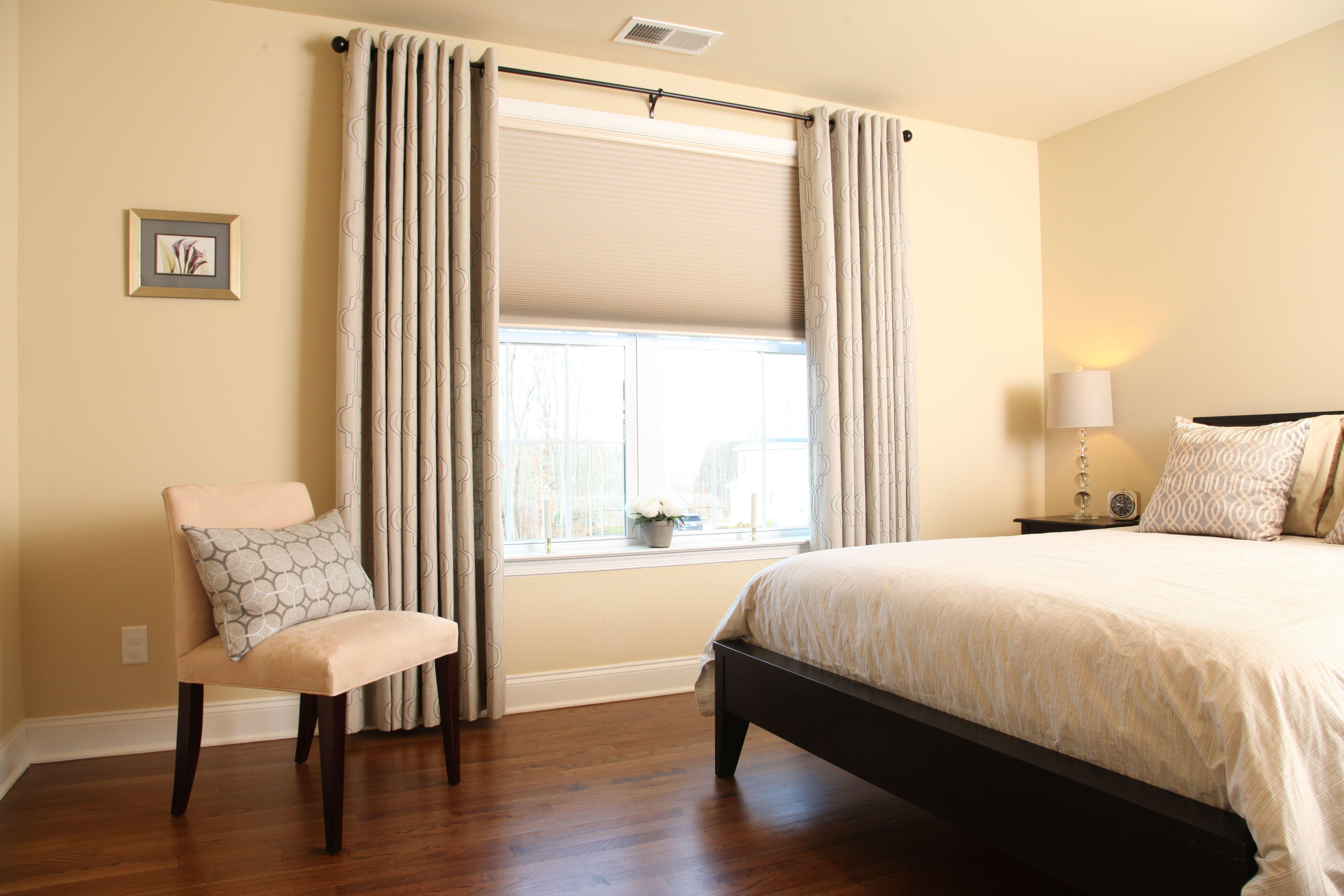 Room Darkening Cellular Shades And Linen Drapes Help Block