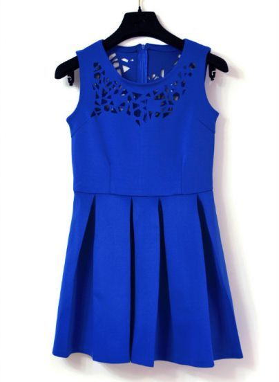 Blue Sleeveless Asymmetrical Hollow Pleated Dress pictures