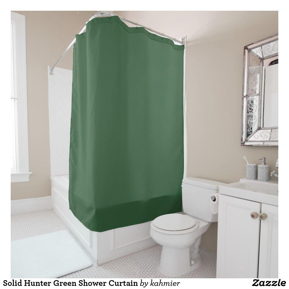 Solid Hunter Green Shower Curtain Zazzle Com Green Shower