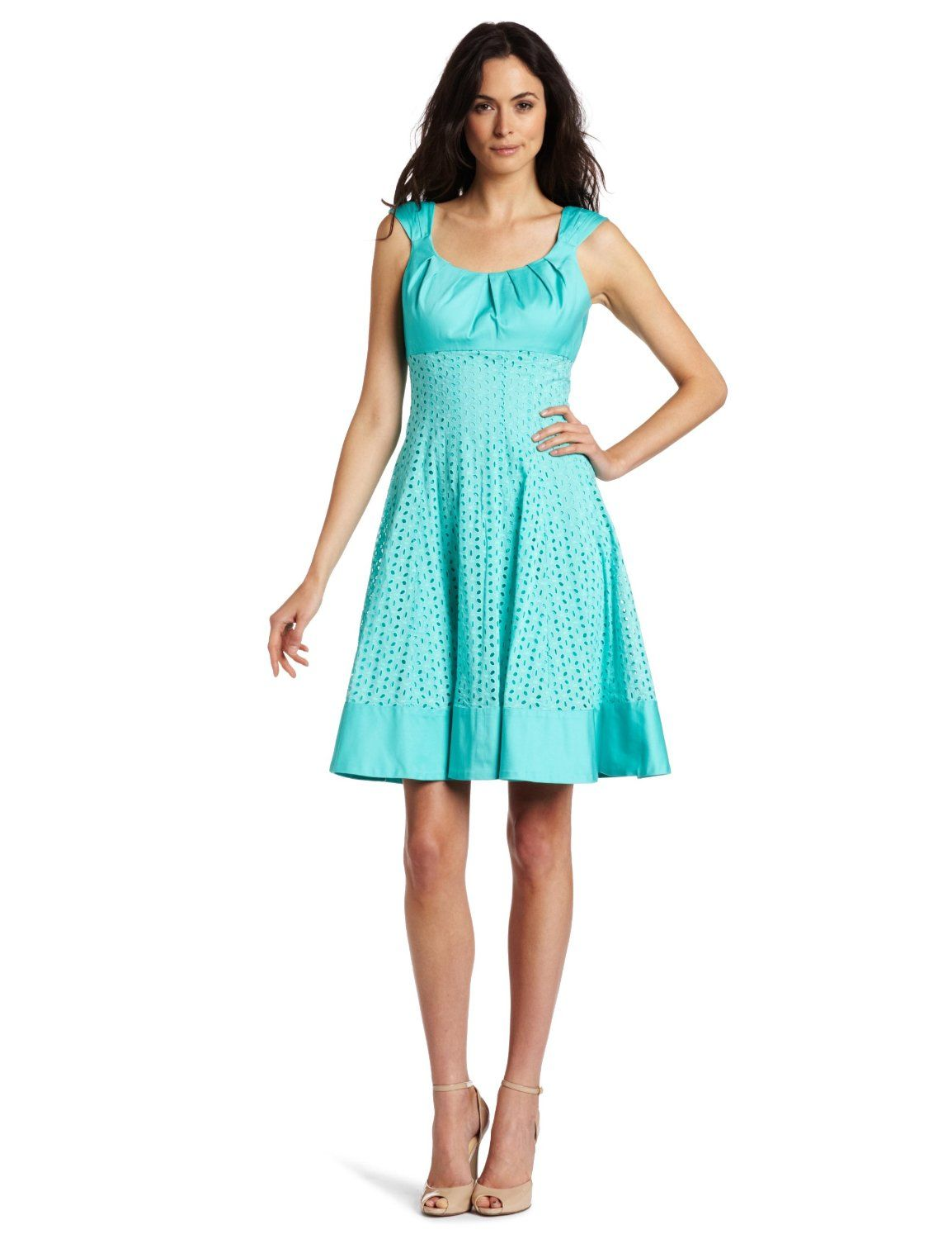 : Maggy London Women's Eyelet Fit And Flare Dress