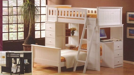 Asia Direct 810 Wh Catherines White Finish Wood Twin Twin Loft