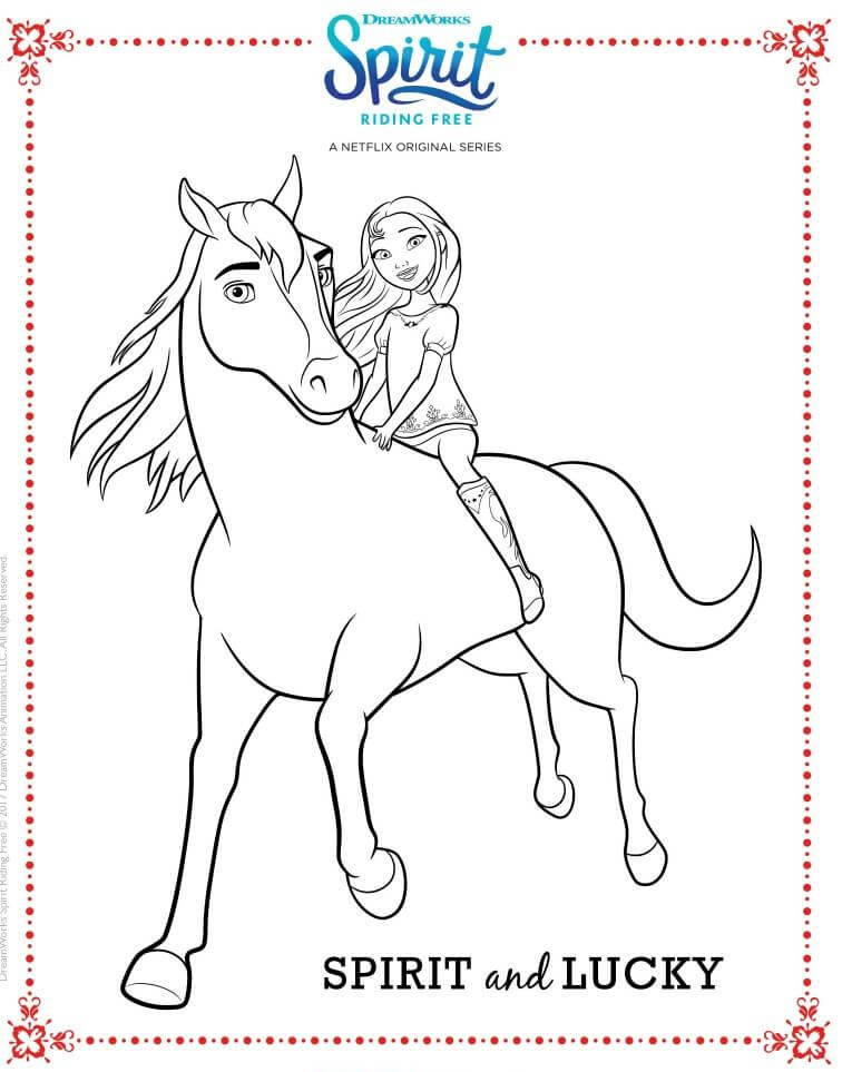 Spirit Riding Free Coloring Page Spirit And Lucky Coloriage Ladybug Coloriage Cheval Coloriage Cheval A Imprimer