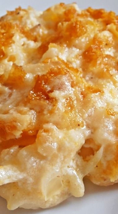 Cheesy Hash Brown Casserole with Corn Flake Topping