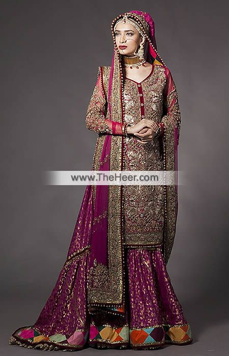 2ae5d7048e BW6996 Maroon Tyrian Purple Crinkle Chiffon Banarasi Jamawar Gharara The  detailing is striking and complements the styling of this bridal gharara  dress.