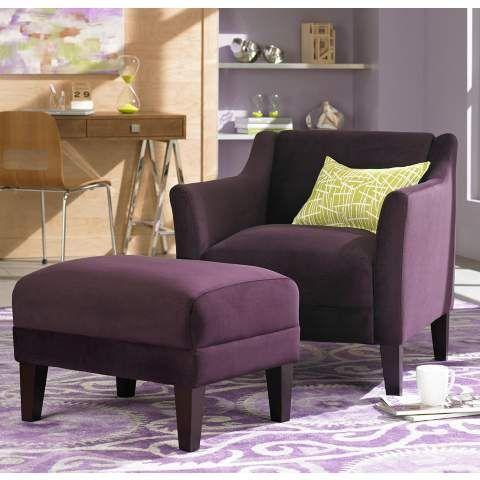 Delightful Lillian Eggplant Accent Chair And Ottoman   #X5008 | LampsPlus.com