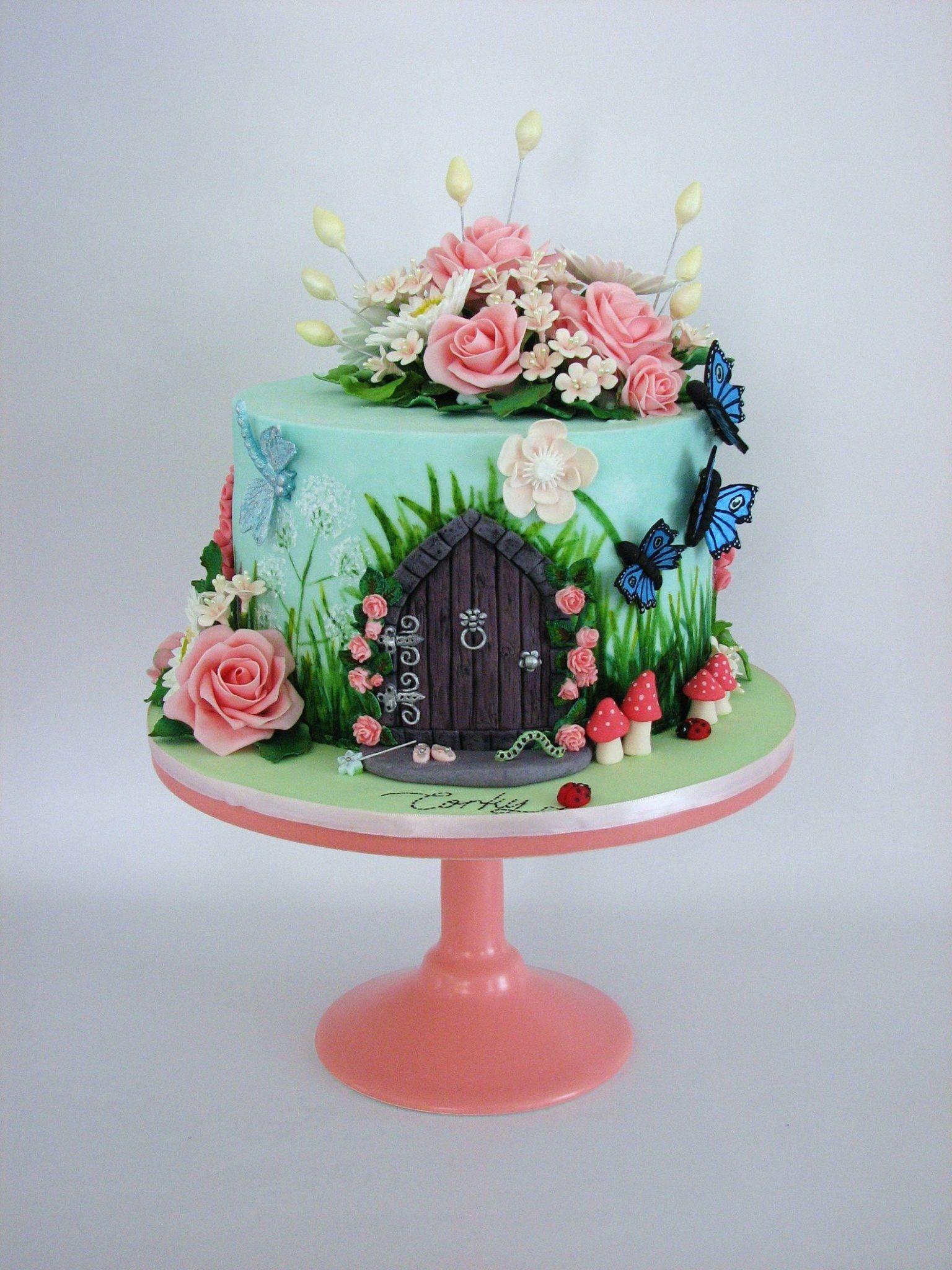 Flower cake | Fairy birthday cake, Fairy house cake, Fairy ...