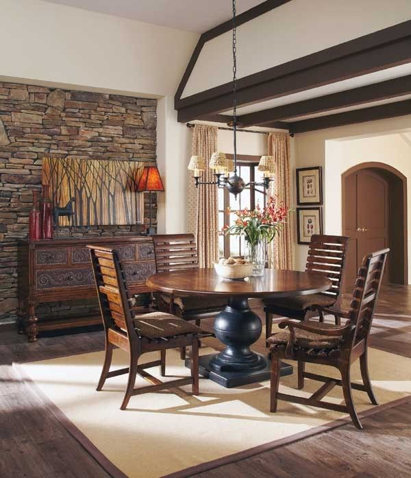 Art Furniture  Whiskey Oak 7 Piece Round Dining Table Set In Stunning 7 Piece Round Dining Room Set Inspiration
