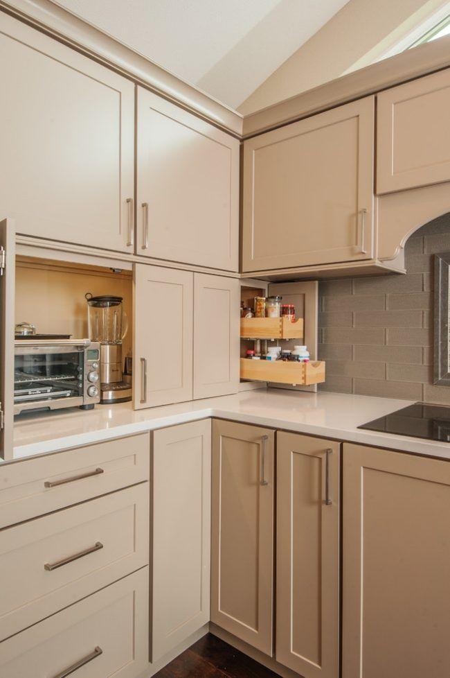 beige küchenzeile elektrogeräte verstecken schranktueren ...