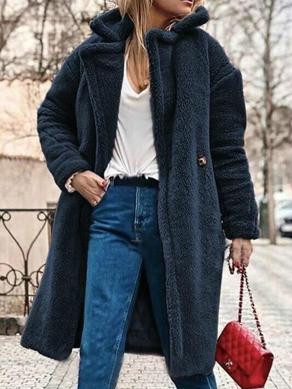 Black Button Turndown Collar Long Sleeve Oversize Teddy Coat