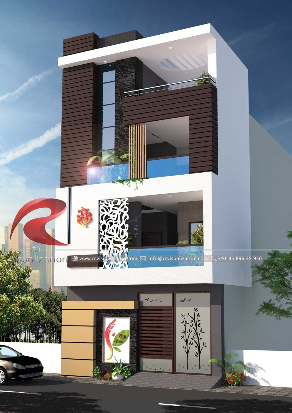 3d Narrow House Designs Gallery Rc Visualization Structural Plan And Elevation Designing Small House Elevation Design Narrow House Designs House Front Design