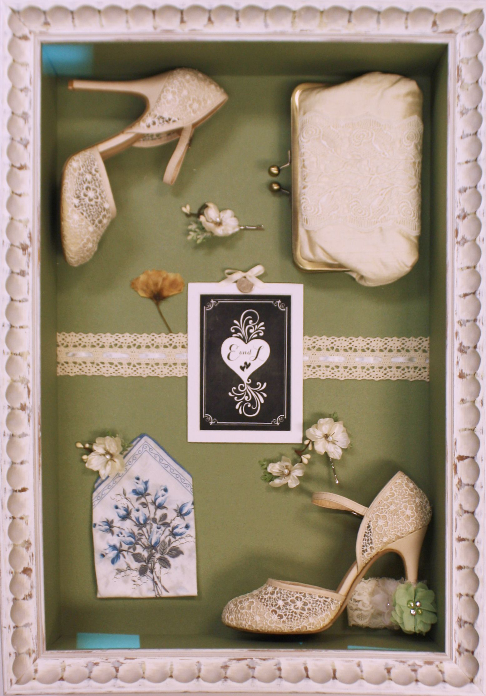 Wedding Collage With Shoes And Other Memorabilia In 2020 Wedding Collage Wedding Dress Frame Wedding Mementos