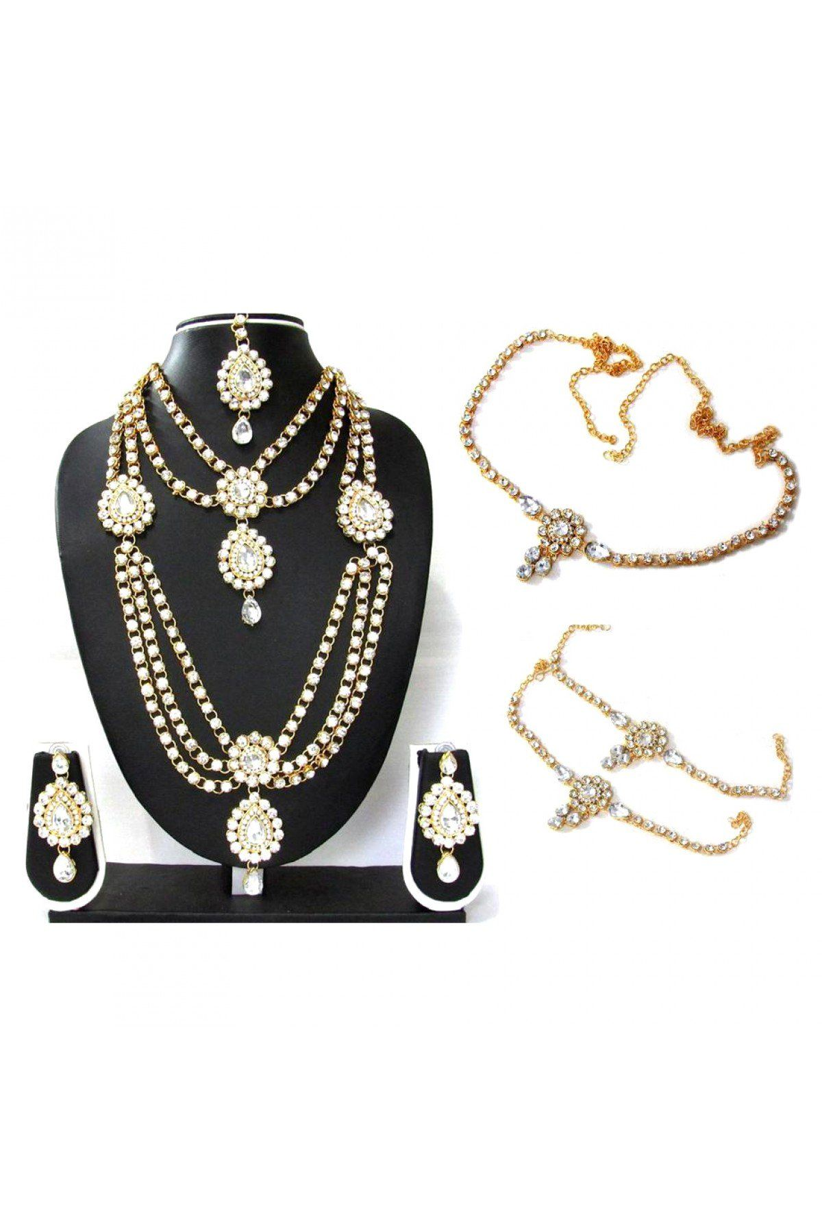 Kundan party wear necklace set in white colour Свадьба pinterest