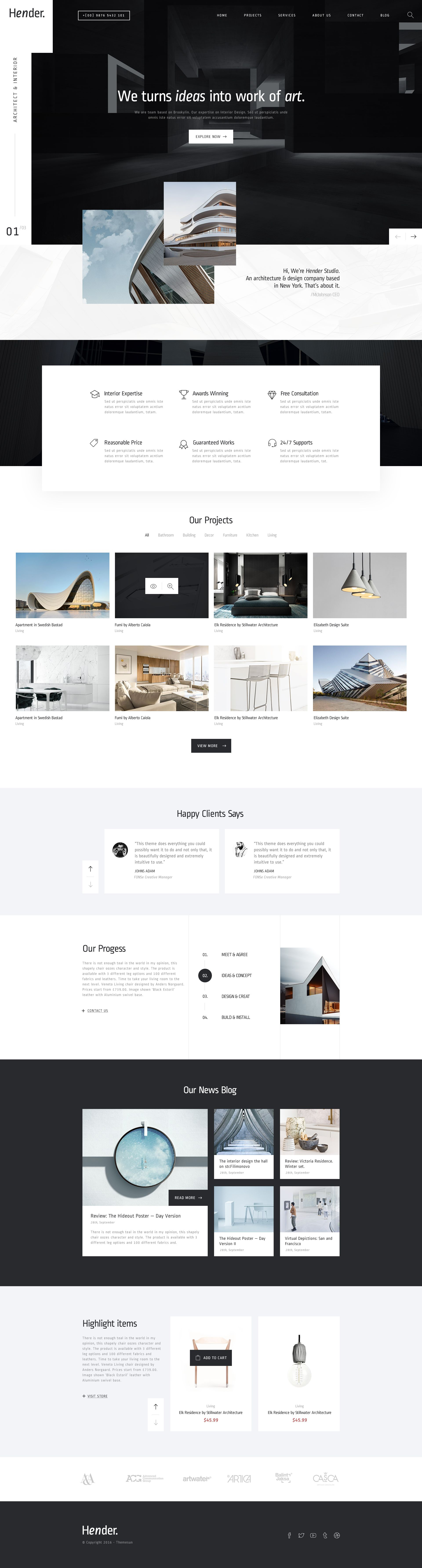 Hender Architecture and Interior Design Agency PSD Template