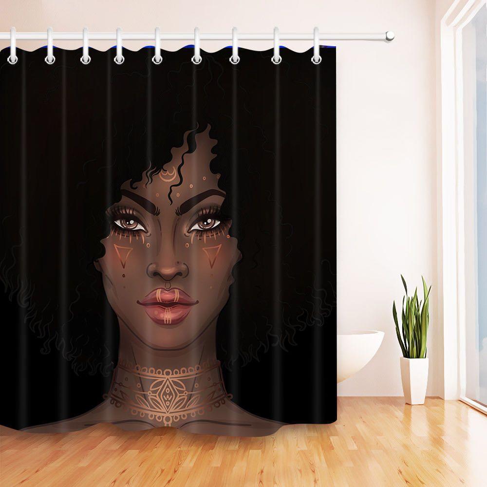 Bathroom Decor African Black Girl Waterproof Fabric Shower Curtain