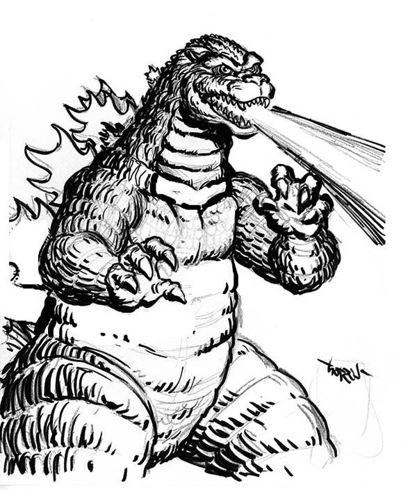 Godzilla, : Godzilla Fire Breath Coloring Pages