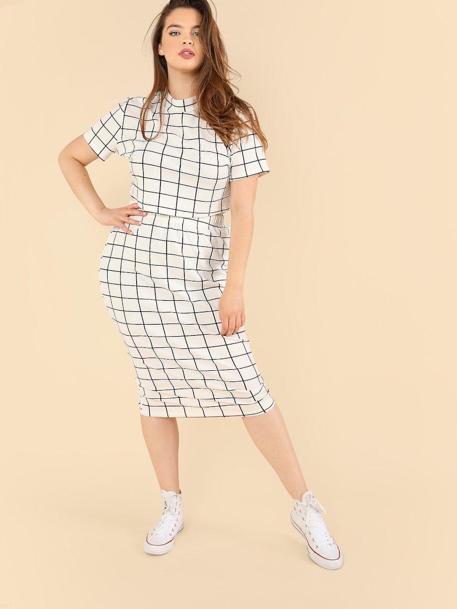 1090178bbd6 Plus Mock Neck Crop Grid Tee   Skirt Set -SheIn(Sheinside)