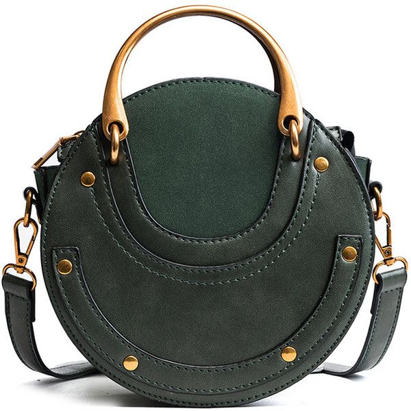 fa9df7154e SheIn(sheinside) PU Round Bag With Metal Handle ($21) ❤ liked on Polyvore  featuring bags, handbags, shoulder bags, green, metal purse, polyurethane  bags, ...