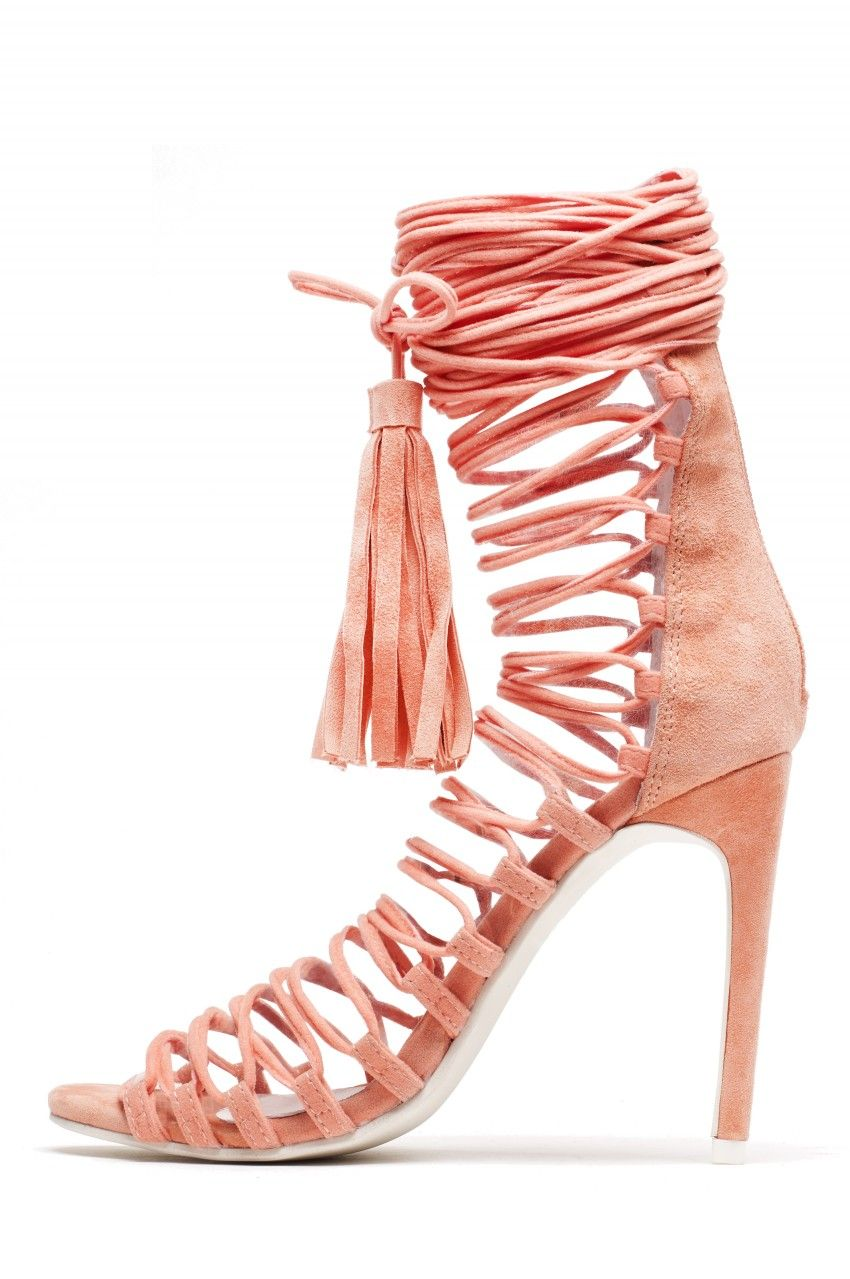 Jeffrey Campbell Shoes Advent Lo Heels In Coral Suede S