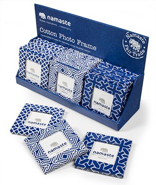 Fair-trade indigo print handmade paper magnetic mini photo frame ...