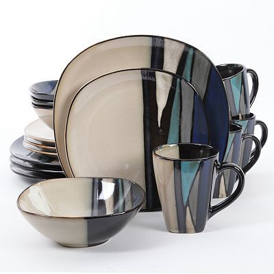 Gibson Elite Althea 16 Pc Round Dinnerware Set Teal Dinnerware