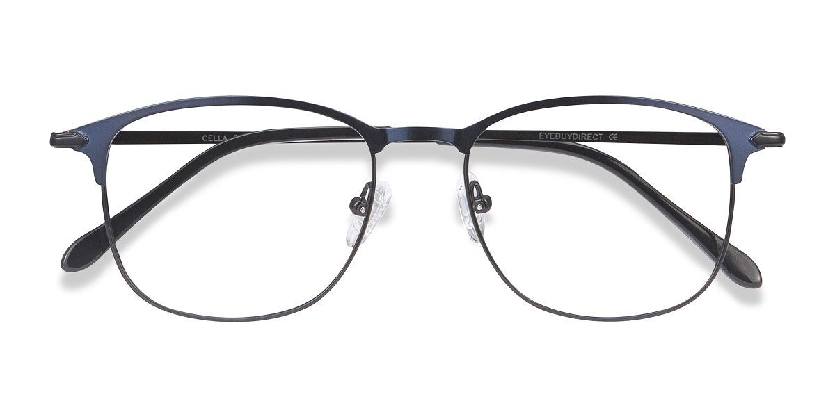 Navy square eyeglasses available in variety of colors to match any outfit. These stylish full-rim, large sized metal eyeglasses include free single-vision prescription lenses, a case and a cleaning cloth.