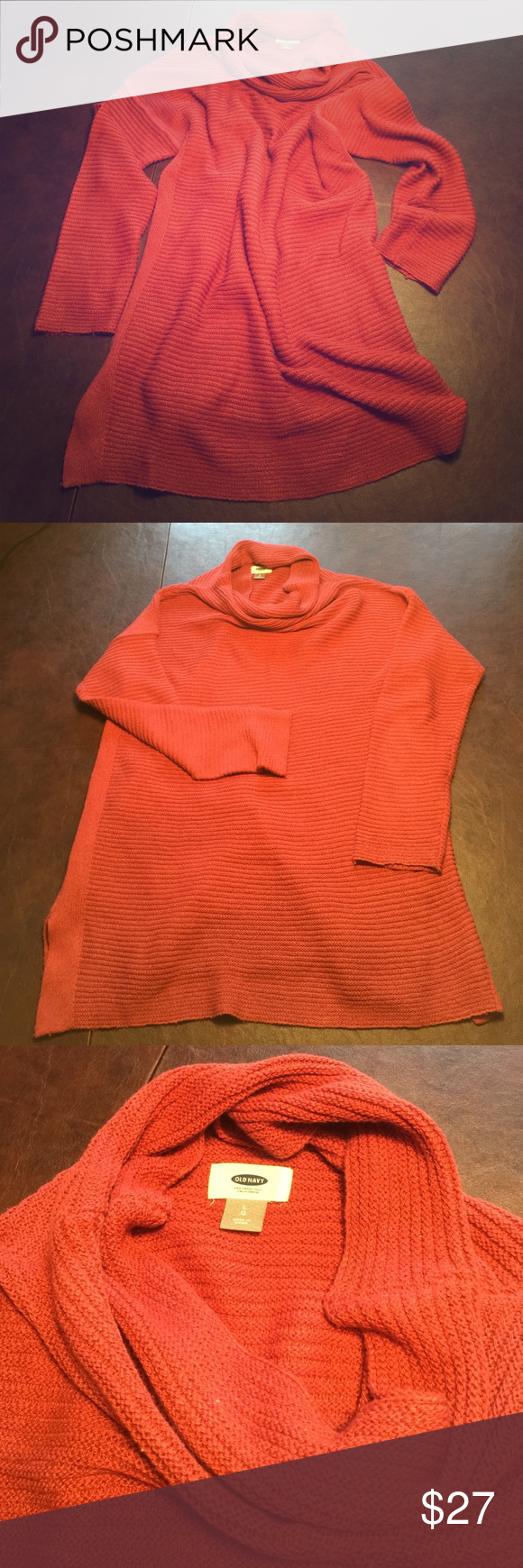 Old Navy lightweight cowl neck sweater. Ultra soft rust colored sweater. Soft enough to wear alone or just stank under. Straight shape body, plenty of length so it is perfect with leggings and boots. Good used condition, I have shaved off any pre-pilling on the sides and arms. I just don't wear sweaters often enough to have as many as I do. Old Navy Sweaters Cowl & Turtlenecks