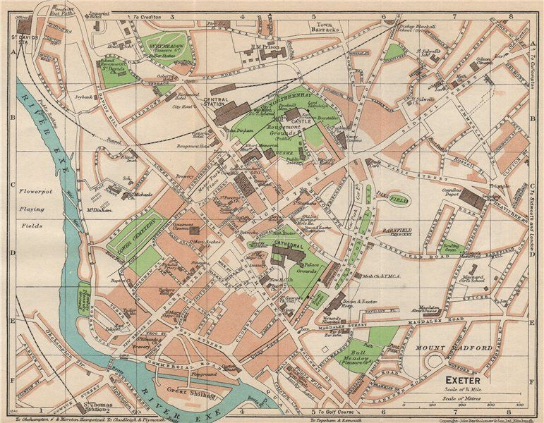 EXETER Vintage town city map plan Devon1950 in Antiques Maps UK