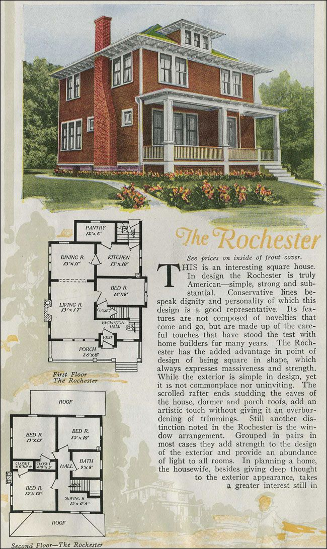Floor Plan On 1920s Four Square Square House Plans Vintage House Four Square Homes
