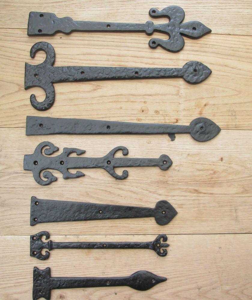 Cast iron Fleur de lys Gothic Heavy Duty Door Gate t-hinge Tee Hinges